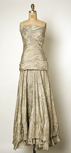 Balenciaga Dress - 1937 - House of Balenciaga (French, founded 1937) - Design by Cristobal Balenciaga (Spanish, 1895-1972) - Silk