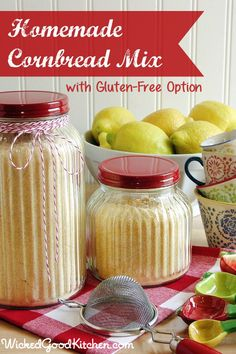 Homemade Sweet Cornbread Mix by WickedGoodKitchen.com ~ This sweet cornbread mix was developed to be equivalent to two (2) 8.5-ounce boxes of Jiffy® Corn Muffin Mix or two (2) 7-ounce packages of Martha White® Sweet Yellow Cornbread & Muffin Mix to use in recipes calling for those mixes. So easy! Simply use 1½ to 2 cups of mix in recipes to make them gluten free! #Thanksgiving #Christmas #holiday #glutenfree #recipe
