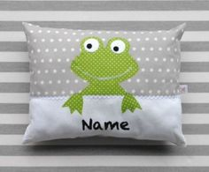 Kissen Frosch Grey pillow with green frog Sewing For Kids, Baby Sewing, Cute Pillows, Throw Pillows, Sewing Hacks, Sewing Projects, Fun Crafts, Diy And Crafts, Applique Patterns