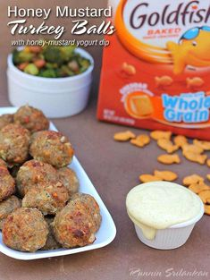 Honey Mustard Turkey Balls with Goldfish crackers and with Honey Mustard Yogurt Dip! Perfect for game day snacking! Quick Appetizers, Easy Appetizer Recipes, Healthy Recipes, Top Recipes, Best Party Food, Party Food And Drinks, Goldfish Crackers, Best Dishes, Side Dishes