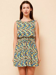 american apparel/ california select original cut-out school girl dress/ teal and yellow mixed flowers