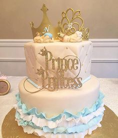 The perfect topper for your gender reveal party. Shown here in gold, with a coordinating crown for Prince and Princess. Double-sided, approximately 6 wide.