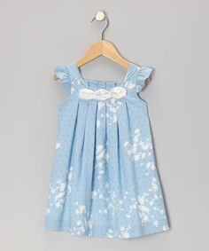 Take a look at this Blue Swiss Polka Dot Rosette Dress - Infant & Toddler by P'tite Môm on #zulily today!