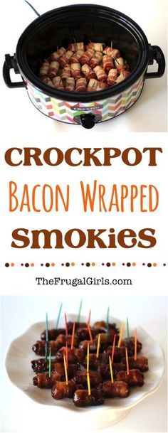 French Delicacies Essentials - Some Uncomplicated Strategies For Newbies Crockpot Bacon Wrapped Lil Smokies Recipe From These Little Smokies Are Crazy Good The Perfect Crock Pot Holiday Appetizer Or Party Food Holiday Appetizers, Appetizer Recipes, Party Appetizers, Crock Pot Appetizers, Appetizer Crockpot, Party Recipes, Crockpot Recipes For Parties, Crockpot Potluck, Crockpot Party Food