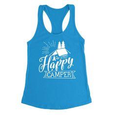 Happy camper camp camping hiking funny camp lover Ladies Racerback Tank Top