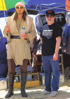 Liam Neeson and George Lucas in a behind the scene pic from Star Wars The Phantom Menace