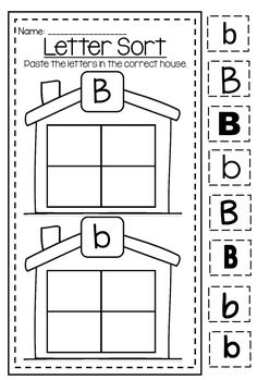 Letter B capital and lower case differentiation. Huge alphabet printable worksheet bundle.