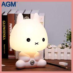 AGM Rabbit Night Light Cartoon Bear Table Desk Lamp Sleeping Bedside Lights With Bulb for Baby Christmas Gif Decoration EU plug