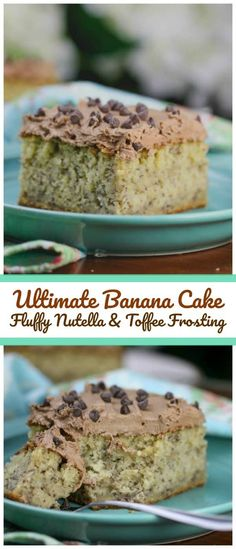 Ultimate Banana Cake with Fluffy Nutella & Toffee Frosting - The most ultimate, moist flavorful Banana Cake you've ever tasted, paired with the most ultimate Fluffy Nutella & Toffee Frosting make this combination perfectly divine and irresistible. #nutella #toffee #banana #cake #frosting #spring #summer #baking