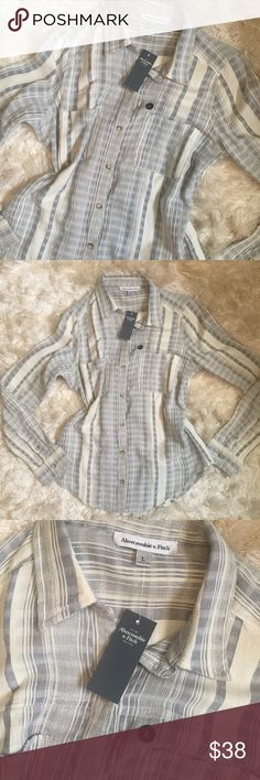 "•NWT• Abercrombie Button Down NWT - smoke free home.   Approx 25"" from shoulder to bottom  Approx 19"" across chest   ••Sorry, I do not model clothing items••  No trades/holds Abercrombie & Fitch Tops Button Down Shirts"