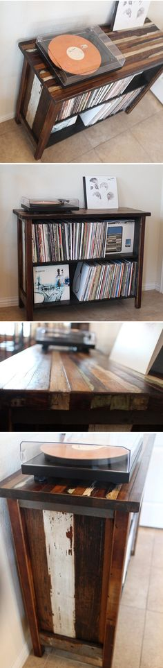Turntable Stand Made with Reclaimed Piano Wood Past meets present with this handmade turntable stand. Made with reclaimed wood from a 1906 Baldwin upright piano, this cabinet is perfect to showcase your vinyl.