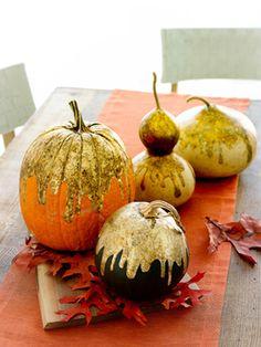 Dripping paint gilded pumpkins