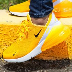 Light it up in the newest flavor of the Nike Air Max 270 C.- Light it up in the newest flavor of the Nike Air Max 270 💡 Coming soon! Nike Air Max, Nike Air Shoes, Nike Tennis Shoes, Nike Socks, Cute Sneakers, Sneakers Nike, Nike Trainers, Yellow Sneakers, Running Trainers