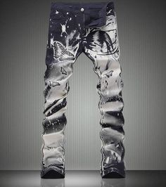 46.28$  Buy now - http://alihgr.worldwells.pw/go.php?t=32773014573 -   Fashion New  Butterfly Print Black Trousers Fashion Slim Denim Jeans 46.28$