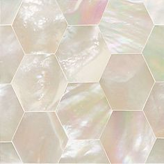 """""""Ocean Jewels"""" Collection by Daltile:  Mother-of-Pearl 2x2 hexagon accent tile."""