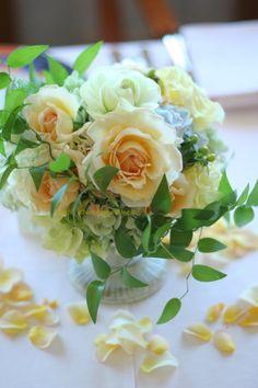 シェ松尾天王洲倶楽部様の装花 透明な黄色 : 一会 ウエディングの花