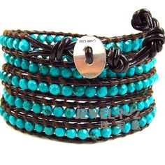 Handmade Natural turquoise faceted beads chan luu 5 wrap bracelet