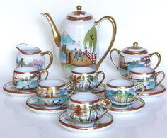 Antique Japanese Eggshell Porcelain Tea Pot Cups & Saucers Set by nadia Tea Pot Set, Cup And Saucer Set, Tea Cup Saucer, Tea Cups, Porcelain Dolls For Sale, Porcelain Jewelry, Vintage Dishes, Vintage Tea, Japanese Tea Set