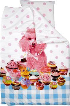 Roze poedel tussen de cup cakes, dekbedovertrek