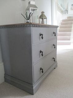 Chest of drawers painted in Farrow and Ball Mole's Breath No 276.