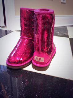 Hot pink sequin UGG boots, https://www.youtube.com/watch?v=tEqSP9kwbCw,