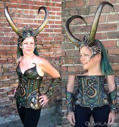 Lady Loki set - large horned headdress, corset, bracers.