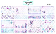 Half and Quarter Box Planner Stickers Midnight Mermaid SA192  This set includes 8 Mermaid/Sea patterned half boxes with corresponding patterns in quarter boxes. They are perfect for highlighting an event or appointment.  These stickers are made to fit in your vertical life planner/calendar/agenda.