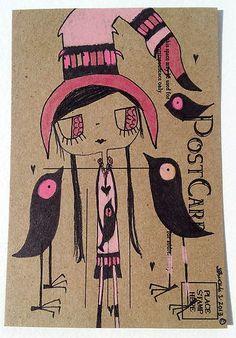 Original Big Eye GiRL WiTcH Black Crows Bird Big Hat A LITTLE ADVICE Colored Pencils
