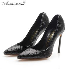 79.00$  Buy now - http://ali28m.worldwells.pw/go.php?t=32786897064 - Newest 2017 spring high heels women 10cm dress pumps girls black Bling party shoes top quality supper high heel shoes 34-42 79.00$