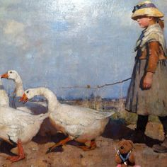 Friedeltje visiting Drents Museum in Assen. He enjoyed the Glasgow Boys and especially loved all animal paintings. One of his favourites: John Guthrie: To new pastures, 1883