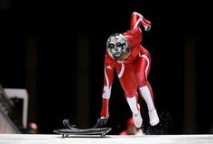 Sarah Reid of Canada makes a practice skeleton run ahead of the Sochi 2014 Winter Olympics at the Sanki Sliding Center, on February (Alex Livesey/Getty Images) Olympic Team, Olympic Games, Skeleton Photo, Running Ahead, Safety Helmet, Luge, Winter Games, Winter Olympics, Olympians