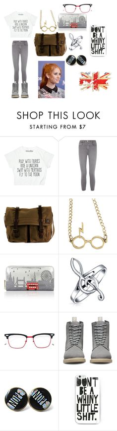 """""""AHP England"""" by frances-carneal on Polyvore featuring L'Agence, DamnDog, Warner Bros., Accessorize, Bling Jewelry, Thom Browne and Dr. Martens"""