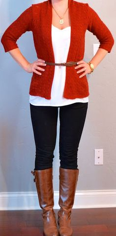 rust cardigan, white tank, black jeans, brown riding boots
