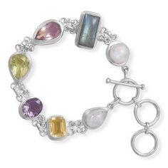 "7.5""+1"" Extension Toggle Multistone Bracelet"