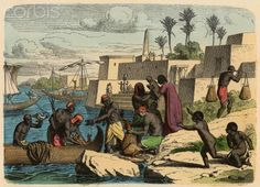Fishing on the banks of the Nile. Engraving. 1866.