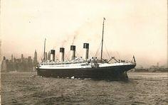 White Star Line OLYMPIC arrives New York early 1930s via Todd Neitring