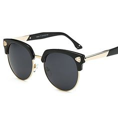 d5e675de608 Amazon.com  VeBrellen Classic Womens Sun Glasses Big Half Frame Vintage  Mens Polarized Sunglasses Goggles (Black Frame With Black Lens