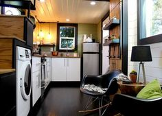 Even has room for washer/dryer and I am so jealous! I live with my husband in our camper, an Autumn Ridge StarCraft.