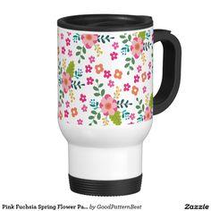 Pink Fuchsia Spring Flower Pattern, Girly Floral Travel Mug