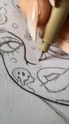 Art Drawings Beautiful, Art Drawings Sketches Simple, Pencil Art Drawings, Random Drawings, Indie Art, Art Inspiration Drawing, Funky Art, Diy Canvas Art, Cartoon Art Styles