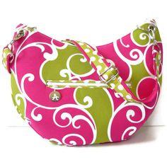 Hobo Bag Crossbody Bag Shoulder Bag  zippered by hypernoodle #purse #hotpink