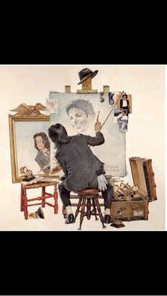 Michael Jackson & Norman Rockwell Picture (little known fact: Michael was an amazing artist and had he lived, he'd probably be doing just this. I think he would have loved this picture of him). Michael Jackson Kunst, Michael Jackson Drawings, Michael Jackson Pics, Norman Rockwell, Jackson Family, Janet Jackson, Jackson's Art, The Jacksons, Michelangelo