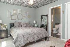 Traditional Master Bathroom with slate tile floors, West Elm Oragin Cotton Pintuck Duvet Cover - Feather Gray, Flush