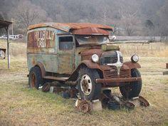 Old Dodge panel truck Antique Trucks, Vintage Trucks, Antique Cars, Abandoned Cars, Abandoned Places, Abandoned Vehicles, Cool Trucks, Big Trucks, Dodge Trucks