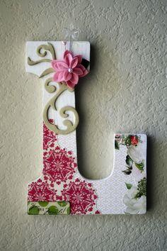 Custom Boutique Large Nursery Wall or Table Monogram Letters. $30.00, via Etsy.