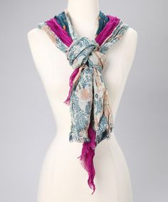Denim & Violet Tissue Triple Silk Scarf by Blue Pacific Fashion