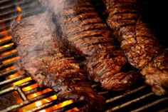 Marinated and Grilled Skirt Steak. Skirt steak is a well-marbled, juicy and flavorful cut of beef that is ideal for grilling. Sliced across the grain, skirt steak is tender but has a great chew and big beefy taste. T Bone Steak, Grilling Recipes, Beef Recipes, Cooking Recipes, Barbecue Recipes, Actifry Recipes, Recipies, Marinated Skirt Steak, Skirt Steak Recipes
