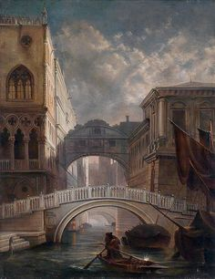 Friedrich Nerly - The Bridge of Sighs in Venice in the moonlight