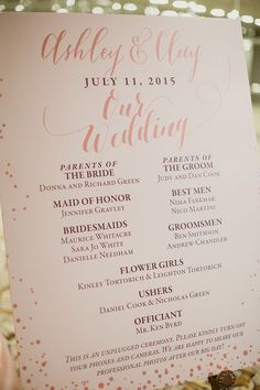 Wedding ceremony program idea; Featured photographer: Shaun Menary Photography