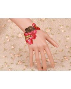 Red Lace Vintage Flower Lolita Bracelet